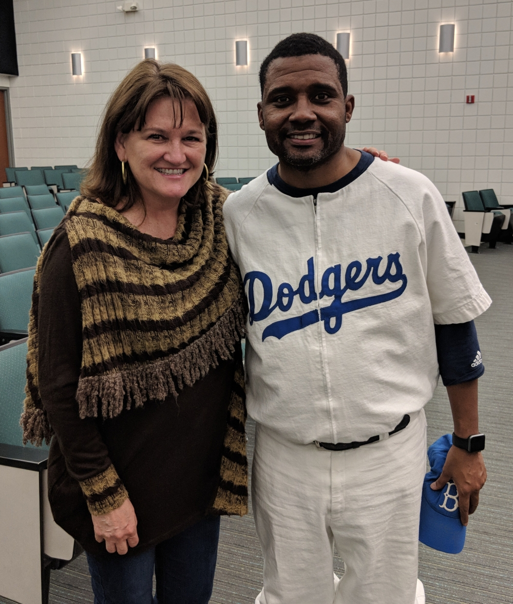 Mike Wiley dressed as Jackie Robinson and Lisa Turlington, Foundation Executive Director
